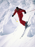 African-American Skier in Red Photographic Print