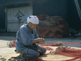 Woman Repairing Fishing Nets, Shimizu, Honshu, Japan Photographic Print