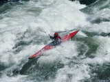 Kayaking in White Water Photographic Print