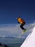 Skier Flying Downhill Photographic Print