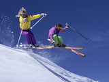 Enthusiastic Skiers Photographic Print