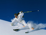 Skier in White Photographic Print