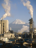 Factory and Mount Fuji, Honshu, Japan Photographic Print