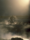 Misty Morning Bicycle Ride Photographic Print