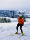 Happy Woman Skiing Photographic Print