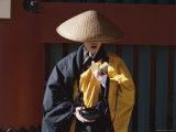 Buddhist Monk Collecting Alms and Praying, Asakusa Kannon Temple, Tokyo, Honshu, Japan Photographic Print