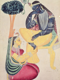 The God Krishna with His Mortal Love, Radha Giclee Print