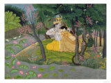 Radha and Krishna Embrace in a Grove of Flowering Trees, c.1780 Reproduction procédé giclée
