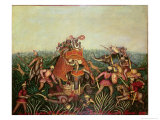 Tiger Hunt, 1892 Giclee Print by Jean-baptiste Guiraud