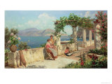 Figures on a Terrace in Capri Giclee Print by Robert Alott
