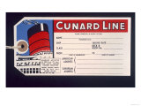 Luggage Ticket For the Cunard Line Giclee Print