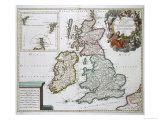 Landkarte von Großbritannien und Irland Giclée-Druck von Gerard Valck