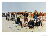 Cavalryman's Breakfast on the Plains, from an Oil Painting c.1890 Giclee Print by Frederic Sackrider Remington