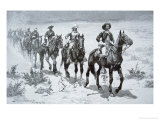 US Buffalo Soldiers Marching in the Desert, from a Drawing of 1888 Giclee Print by Frederic Sackrider Remington