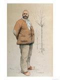 Portrait of Emile Zola Giclee Print by De La Barre