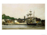 The Harbour at Honfleur Giclee Print by Karl Pierre Daubigny