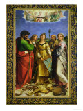 St. Cecilia Surrounded by St. Paul, St. John the Evangelist, St. Augustine and Mary Magdalene Reproduction procédé giclée par Raphael