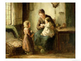 Playing with Baby Giclee Print by Adolf-julius Berg
