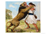 Samson Fighting a Lion Giclee Print by Clive Uptton