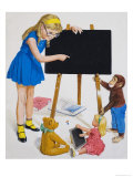 Girl with Blackboard Giclee Print by Clive Uptton