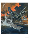 Naval Battle Giclee Print by Graham Coton