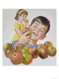 Boy and Girl with Apples Giclee Print by Clive Uptton