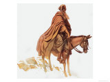 Bearded Man on Horse Giclee Print by Gerry Embleton