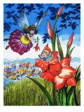 Baby Fairy in a Flower Giclee Print by Jesus Blasco