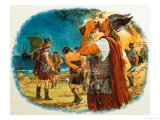 Viking Warrior Taking a Drink Giclee Print by Clive Uptton