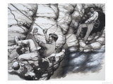 Climbing Archeologists Giclee Print by Pat Nicolle
