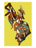 Japanese Theatrical Mask Giclee Print by Dan Escott