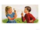 Boy Blowing a Dandelion Clock Giclee Print by Clive Uptton