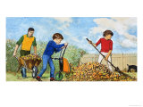 Sweeping Up Autumn Leaves Giclee Print by Clive Uptton