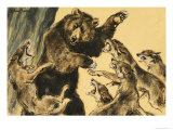 Bear Fighting Wolves Giclee Print by William Timyn