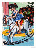 Girl on Rocking Horse Giclee Print by Jesus Blasco