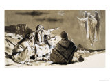 Shepherds Approached by Angel Giclee Print by Clive Uptton