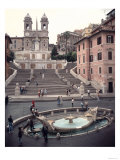 View of the Spanish Steps or Scalinata, Designed by Francesco de Santis Giclee Print