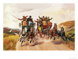Race Between Stage Coaches Giclee Print by Derek Charles Eyles