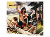 American Indian with Rifle Giclee Print by Ron Embleton