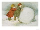 Children Rolling Snowballs Giclee Print by Lizzie Mack