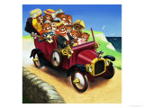 Teddy Bears in a Car Giclee Print by Francis Phillipps