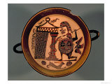 Laconian Black-Figure Cup Depicting a Warrior Attacking a Snake, 6th Century BC Giclee Print by Rider Painter 