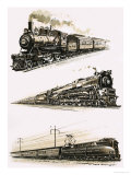 Montage of Us Trains Giclee Print by John S. Smith
