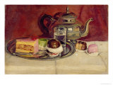 Still Life with Cakes and a Silver Teapot Giclee Print by Pericles Pantazis