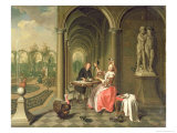 Colonnade of a Country House with a Lady Seated Beside a Statue Being Served a Dish of Fruit, 1736 Giclee Print by Peter Jacob Horemans