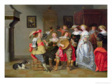 Elegant Company Merry-Making in an Interior Giclee Print by Christoffel Jacobsz Van Der Lamen