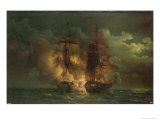 Battle Between the French Frigate Arethuse and the English Frigate Amelia Islands of Loz, 1813 Giclee Print by Louis Philippe Crepin