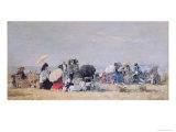 Beach Scene, Trouville, 1873 Giclee Print by Eugène Boudin