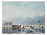 Frozen Winter Scene Giclee Print by Andreas Schelfhout