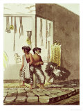 Pampa Indians at a Store, Indian Market of Buenos Aires Giclée-Druck von Emeric Essex Vidal